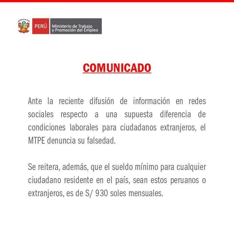 MTPE: Sueldo Mínimo Es De S/ 930 Para Peruanos Y